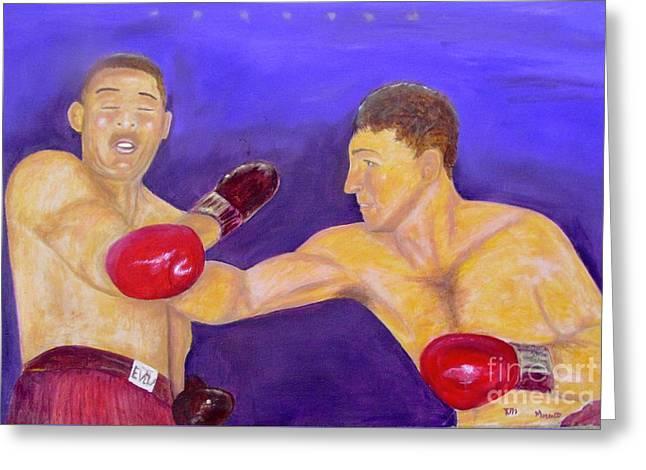 Rocky Marciano - Joe Louis - Original Oil Painting Greeting Card