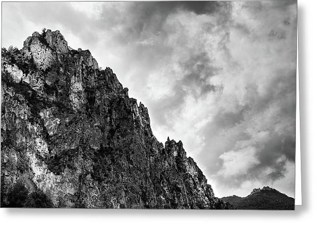 Greeting Card featuring the photograph Rocky Mountain And Stormy Cloudy Sky by Michalakis Ppalis