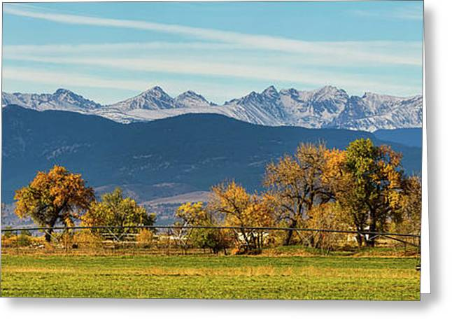 Rocky Mountain Autumn Farming Panorama Greeting Card