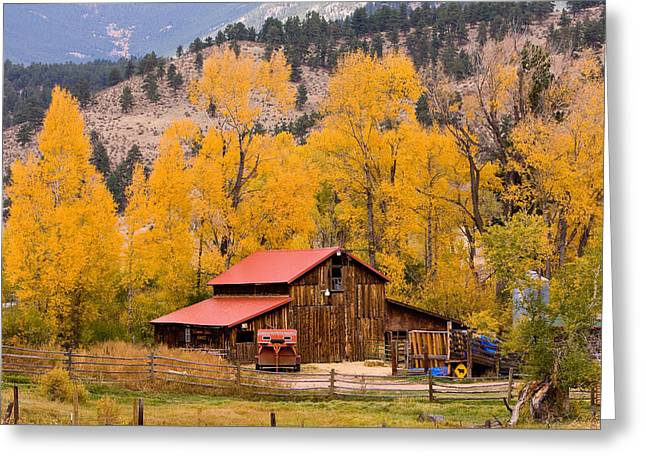 Rocky Mountain Autumn Ranch Landscape Greeting Card