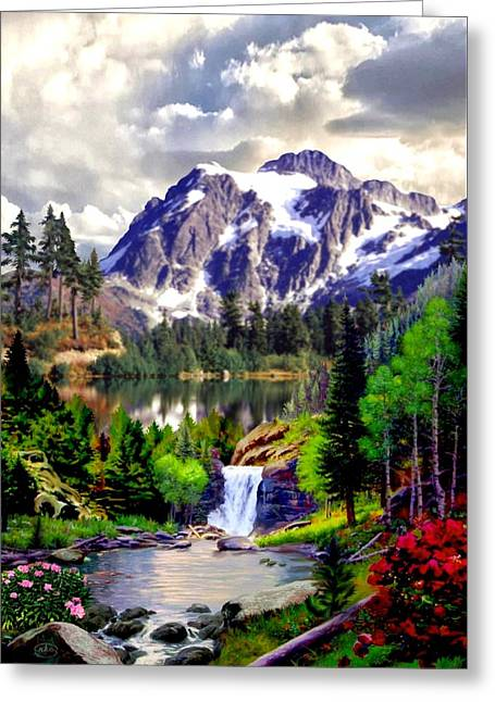 Rocky Mountain Cascade Greeting Card by Ron Chambers