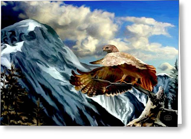 Rocky Mountain Hawk Greeting Card by Ron Chambers
