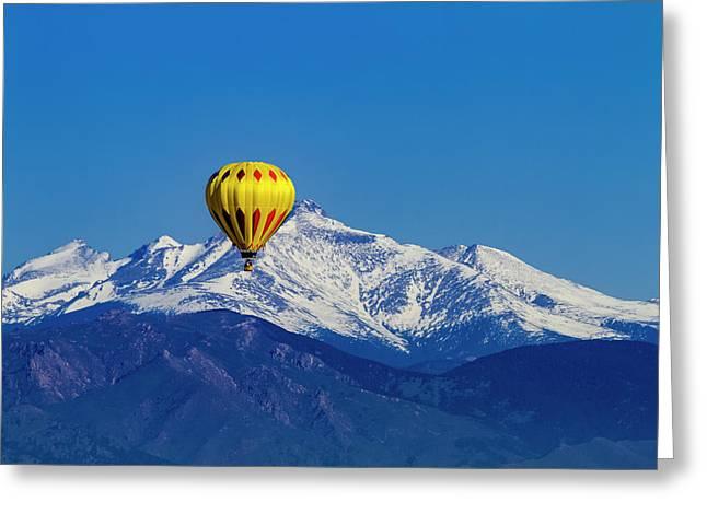 Rocky Mountain Hot Air Balloon Greeting Card by Teri Virbickis