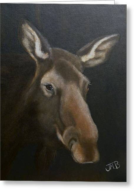 Rocky Mountain House Moose Greeting Card by Janice M Booth