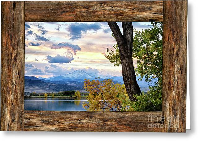 Rocky Mountain Longs Peak Rustic Cabin Window View Greeting Card by James BO Insogna