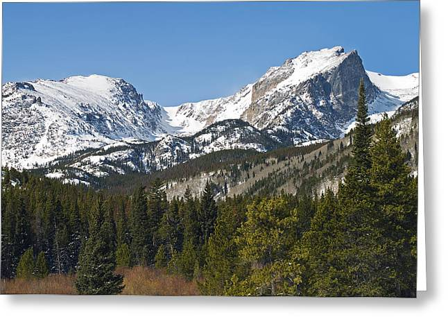 Rmnp Greeting Cards - Rocky Mountain National Park Vista showing Hallet Peak on right Greeting Card by Brendan Reals