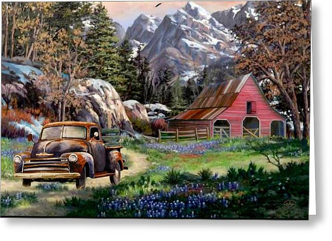 Rocky Mountain Ranch Greeting Card by Ron Chambers