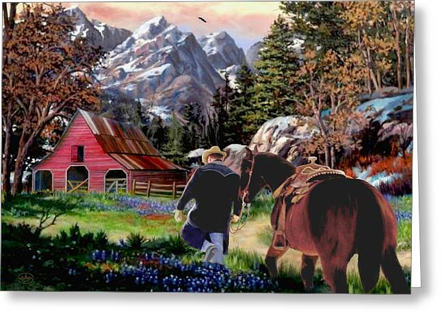 Rocky Mountain Ranch Ver2 Greeting Card by Ron and Ronda Chambers