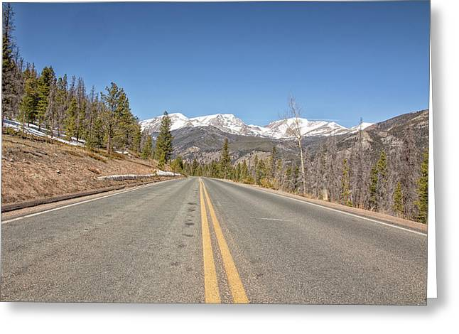 Rocky Mountain Road Heading Towards Estes Park, Co Greeting Card