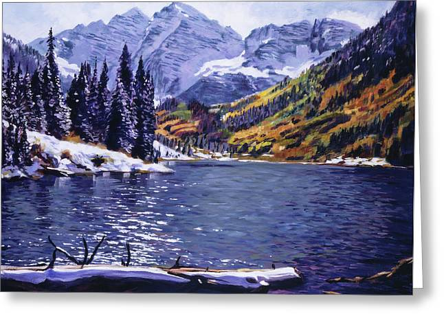 Most Popular Paintings Greeting Cards - Rocky Mountain Serenity Greeting Card by David Lloyd Glover