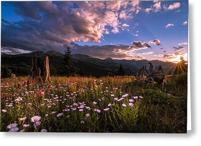 Rocky Mountain Summer Sunset Greeting Card