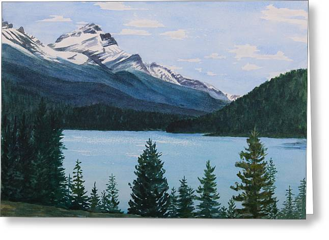 Rocky Mountains Greeting Card by Debbie Homewood