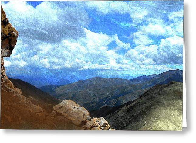 Rocky Mountains Vista Oil Painting Greeting Card by Design Turnpike