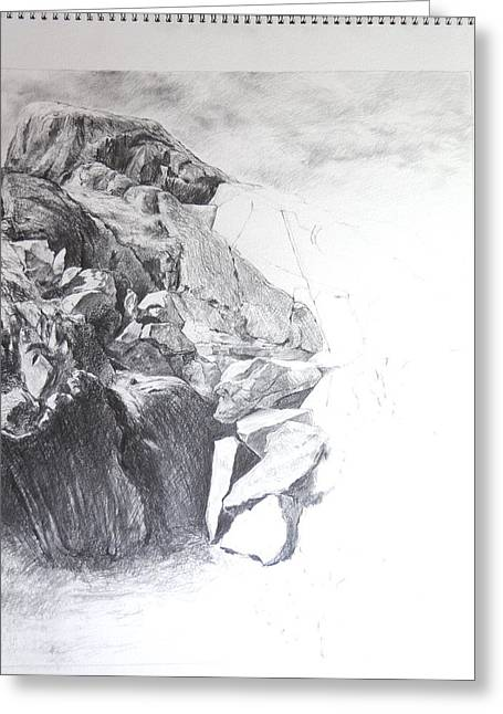 Rocky Outcrop In Snowdonia. Greeting Card by Harry Robertson