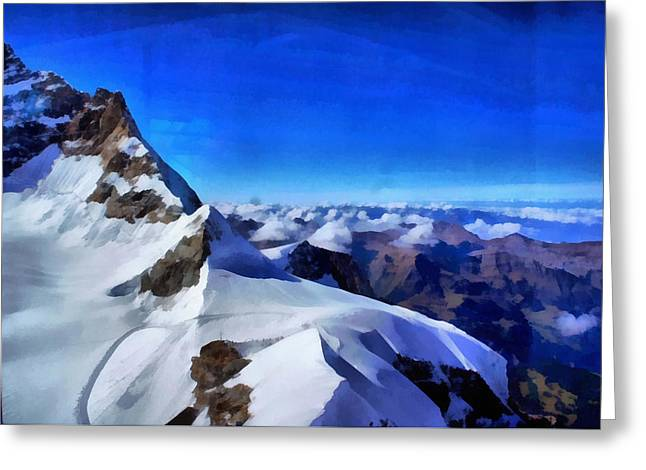 Rocky Peaks On The Mountainside In The Swiss Alps Greeting Card by Ashish Agarwal