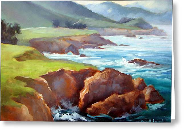 Rocky Point Afternoon Big Sur Greeting Card by Karin  Leonard