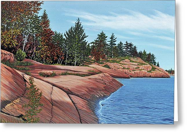 Greeting Card featuring the painting Rocky River Shore by Kenneth M Kirsch