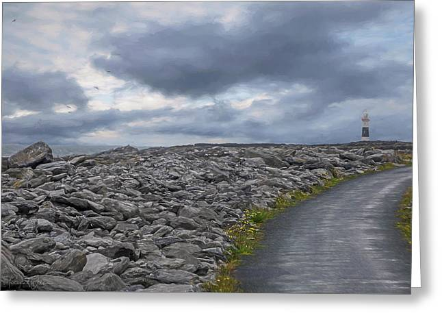 Rocky Road To The Lighthouse Greeting Card