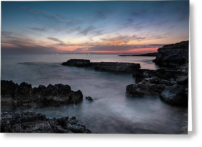 Greeting Card featuring the photograph Rocky Coastline And Beautiful Sunset by MPpalis