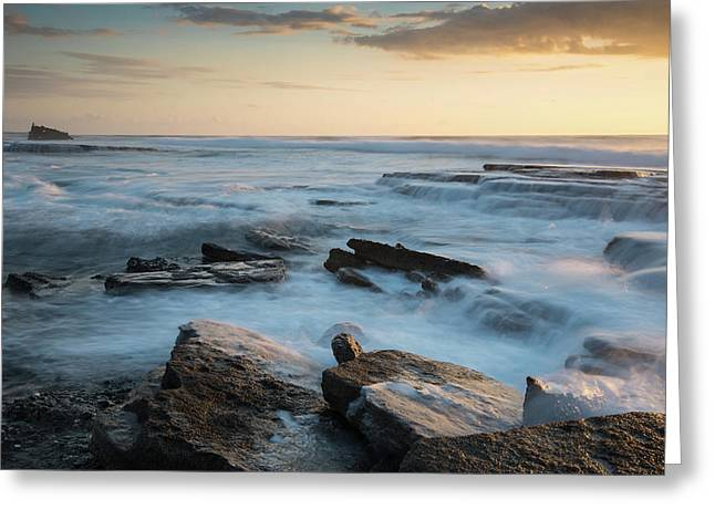 Greeting Card featuring the photograph Rocky Seashore During Sunset by Michalakis Ppalis