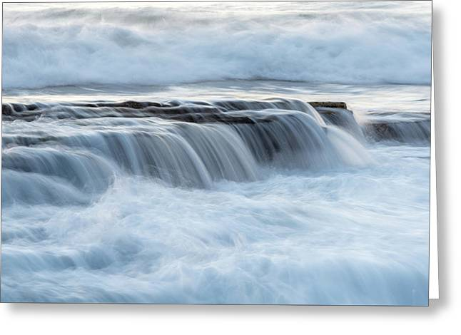 Greeting Card featuring the photograph Rocky Seashore With Wavy Ocean And Waves Crashing On The Rocks  by Michalakis Ppalis