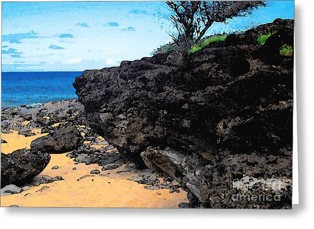 Rocky Shore Greeting Card by James Temple