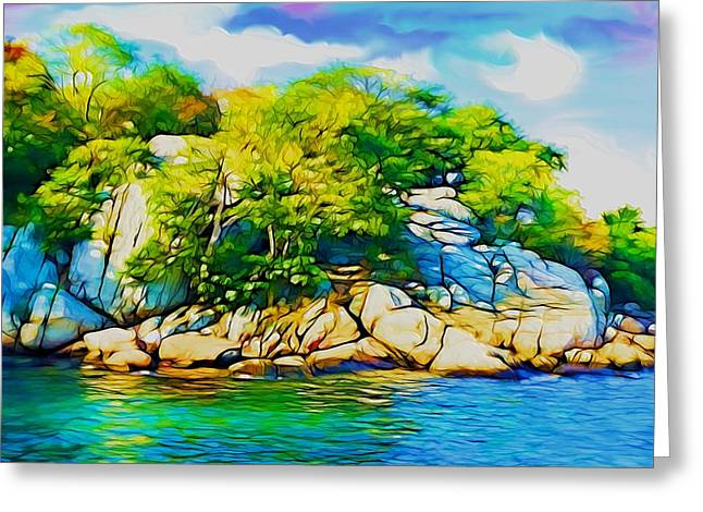 Rocky Shore Greeting Card by Lilia D