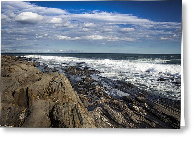 Rocky Shore Line Two Lights Maine  Greeting Card