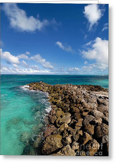 Rocky Shoreline On The Beach At Atlantis Resort Greeting Card