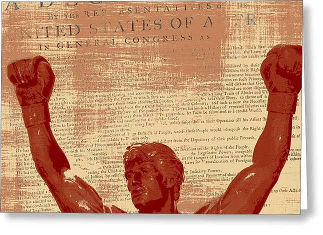 Rocky Statue Declaration Of Independence Greeting Card