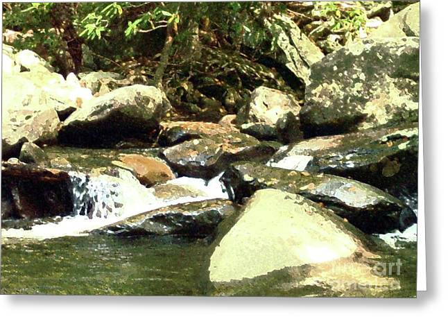 Greeting Card featuring the mixed media Rocky Stream 5 by Desiree Paquette
