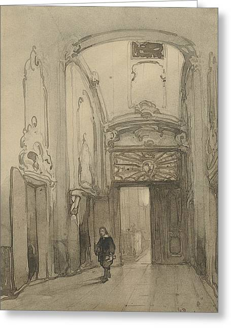 Rococo Portal In City Hall In The Hague With A Man In Seventeenth-century Costume Greeting Card by Johannes Bosboom