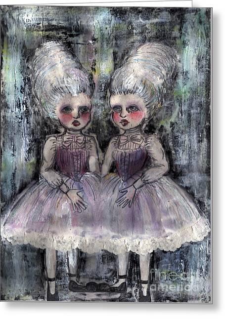 Rococo Twins Greeting Card by Akiko Okabe