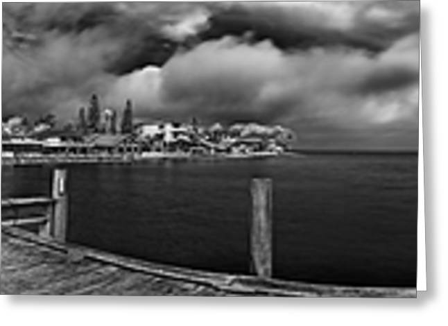 Rod And Reel Pier In Infrared Greeting Card