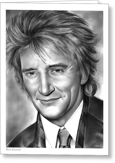 Rod Stewart Greeting Card by Greg Joens
