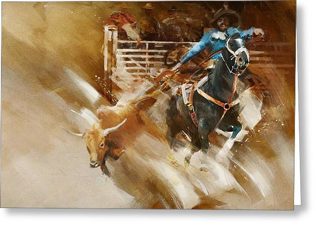 Rodeo 35 Greeting Card by Maryam Mughal