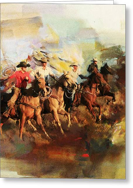 Rodeo 39 Greeting Card by Maryam Mughal