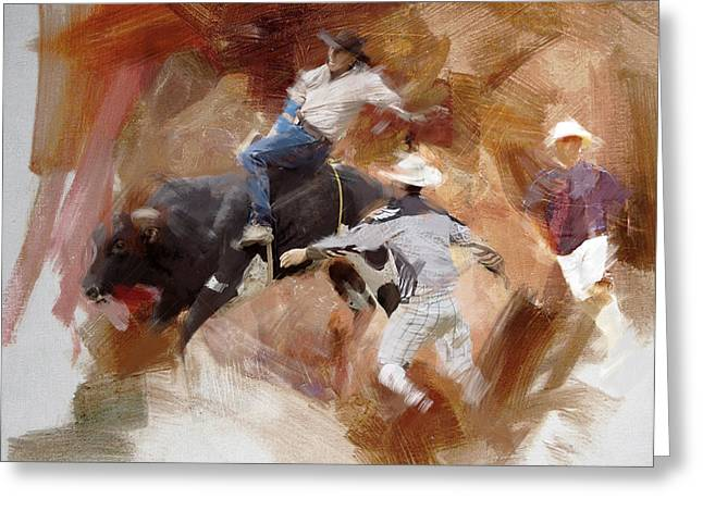 Rodeo 40 Greeting Card by Maryam Mughal