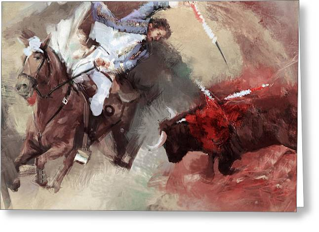 Rodeo 43b Greeting Card by Maryam Mughal