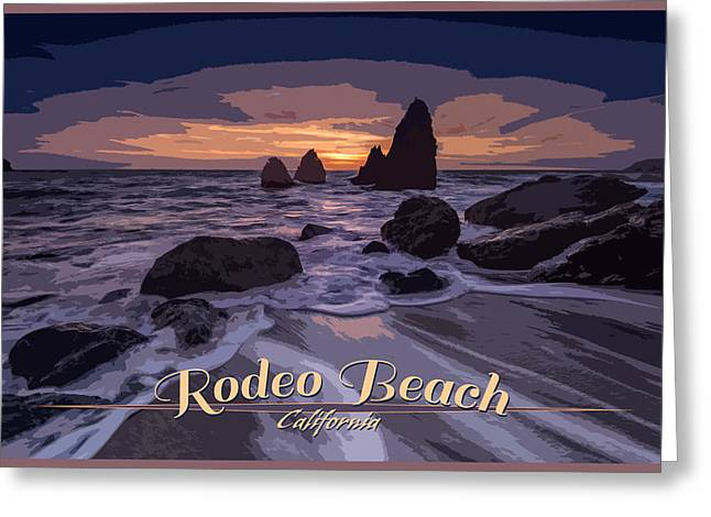 Rodeo Beach Vintage Tourism Poster Greeting Card by Rick Berk