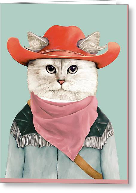 Rodeo Cat Greeting Card by Animal Crew