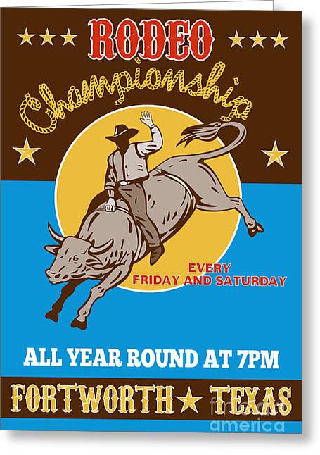Rodeo Cowboy Bull Riding Poster Greeting Card by Aloysius Patrimonio