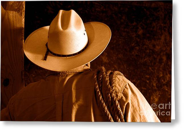 Rodeo Cowboy - Sepia Greeting Card by Olivier Le Queinec