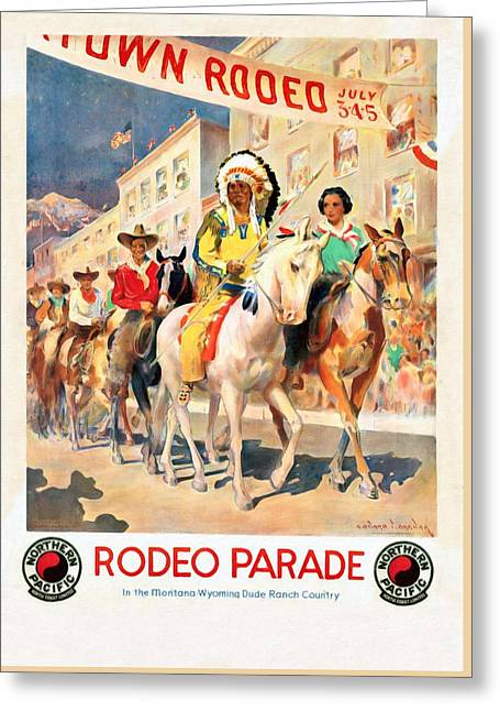Rodeo Parade - Vintage Poster Restored Greeting Card