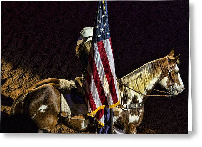 Rodeo Patriotism Greeting Card by Stephen Stookey