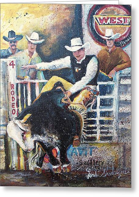 Greeting Card featuring the painting Rodeo Ride by Linda Shackelford