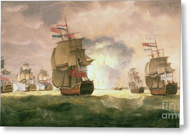 Rodney's Victory Off Cape St. Vincent  Greeting Card by Thomas Luny