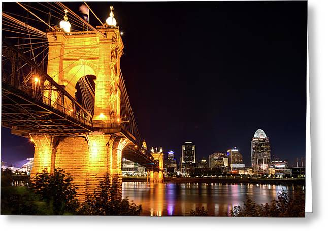 Greeting Card featuring the photograph Roebling Bridge And Cincinnati Skyline At Night by Gregory Ballos