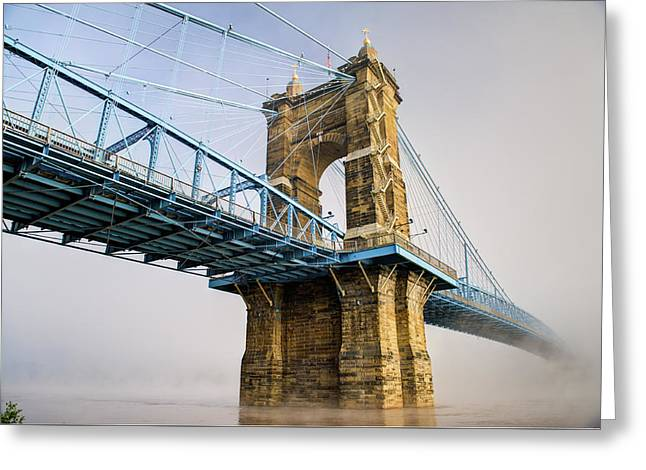 Greeting Card featuring the photograph Roebling Suspension Bridge 2 by Rick Hartigan