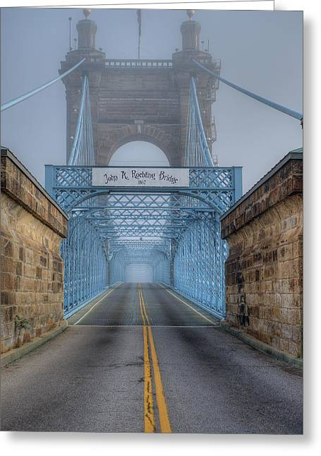 Greeting Card featuring the photograph Roebling Suspension Bridge by Rick Hartigan